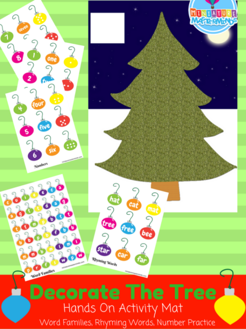 Decorate The Tree Hands On Activity Mat Word Families, Rhyming Words, Number Practice