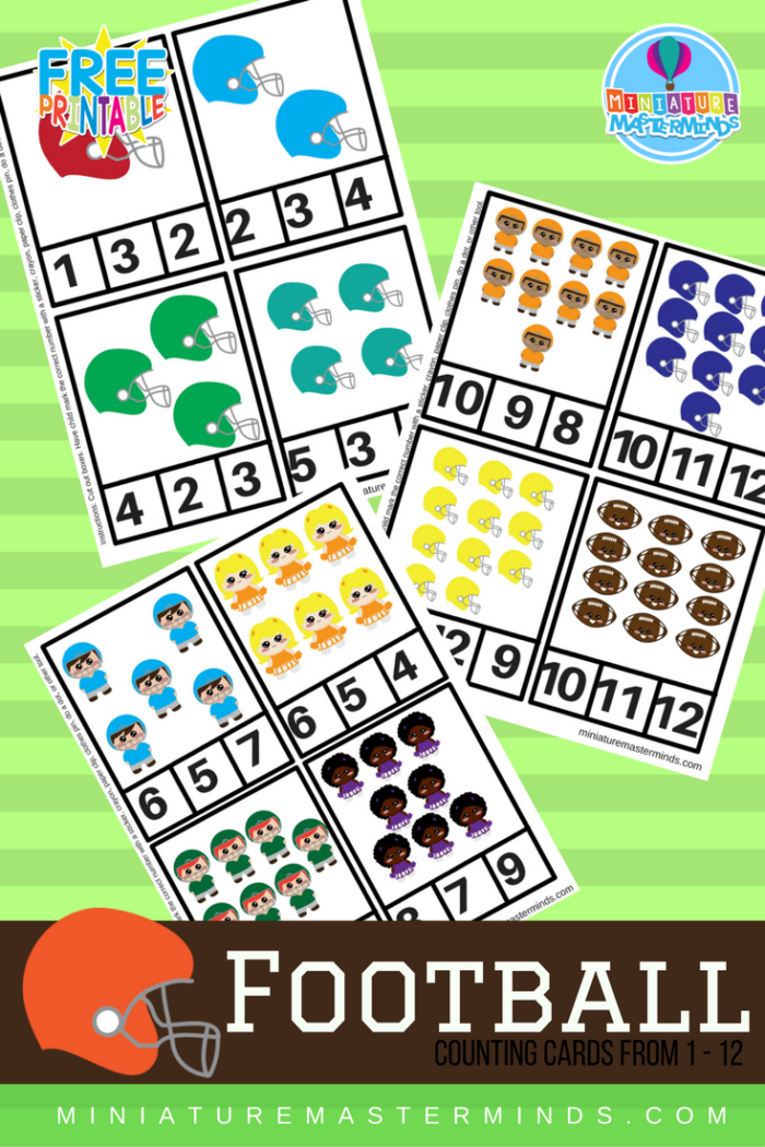 Printable Preschool Football Clip Counting Cards 1-12