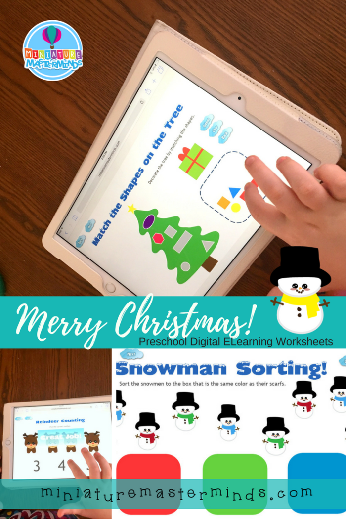 Merry Christmas Preschool Digital Worksheet Activity For Touch Devices and PC