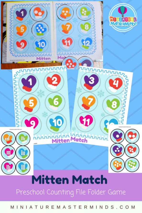 Mitten Match Preschool Printable File Folder Activity 25 Days Of ...