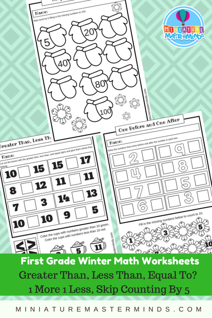 3 First Grade Winter Math Worksheets Greater Than Less Or. Download This Set By Clicking Below. Worksheet. 1 More 1 Less Worksheet At Clickcart.co
