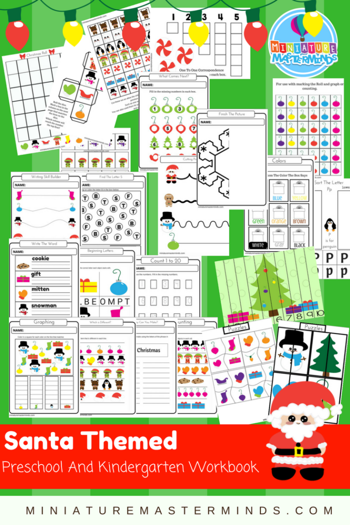 Santa Themed Preschool and Kindergarten Workbook.