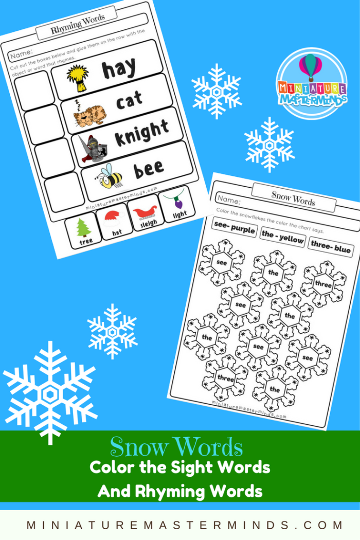 Snow Words 2 Printable First Grade Worksheets Color the Sight – Snow Worksheets