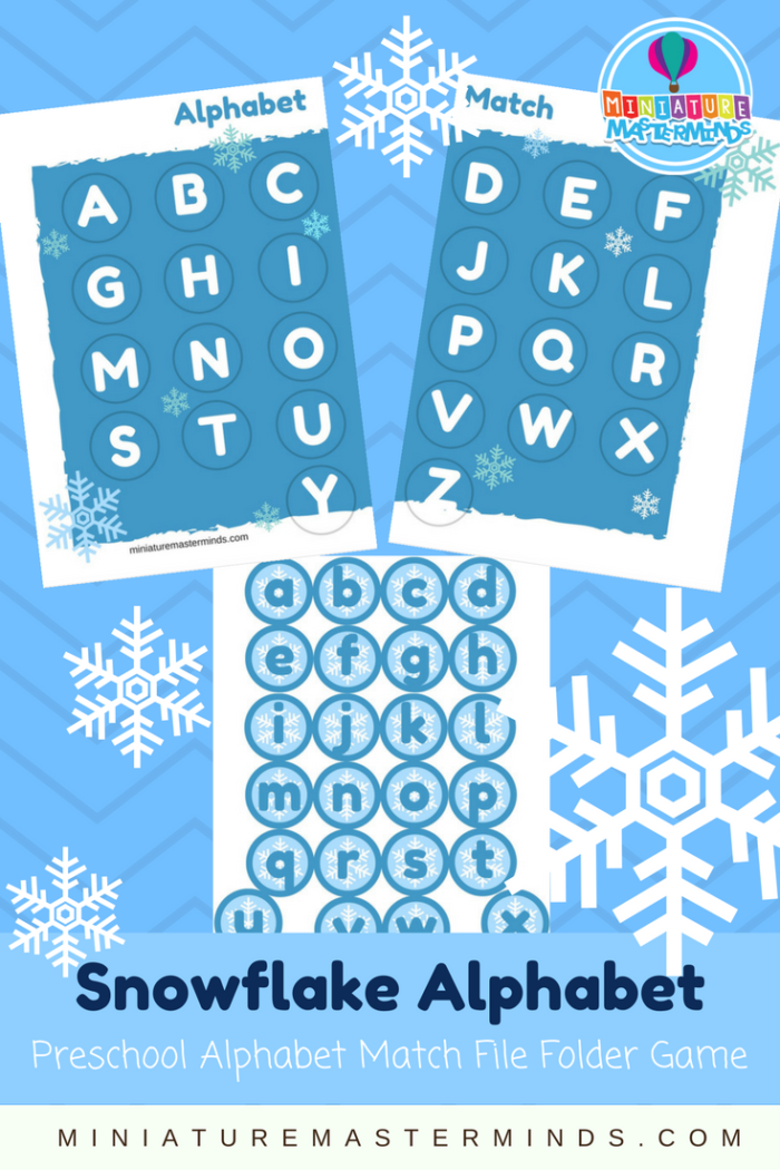 Snowflake Alphabet Match Preschool upper and lowercase Alphabet Matching File Folder Game