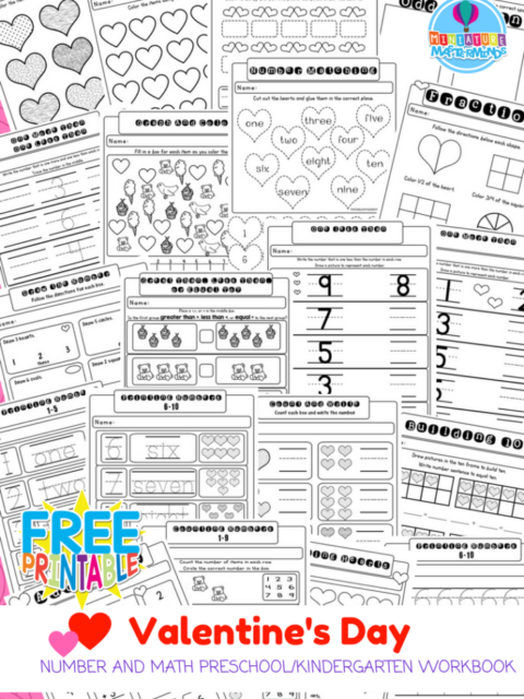 21 Page No Prep Valentine Preschool Kindergarten Math And Number Workbook