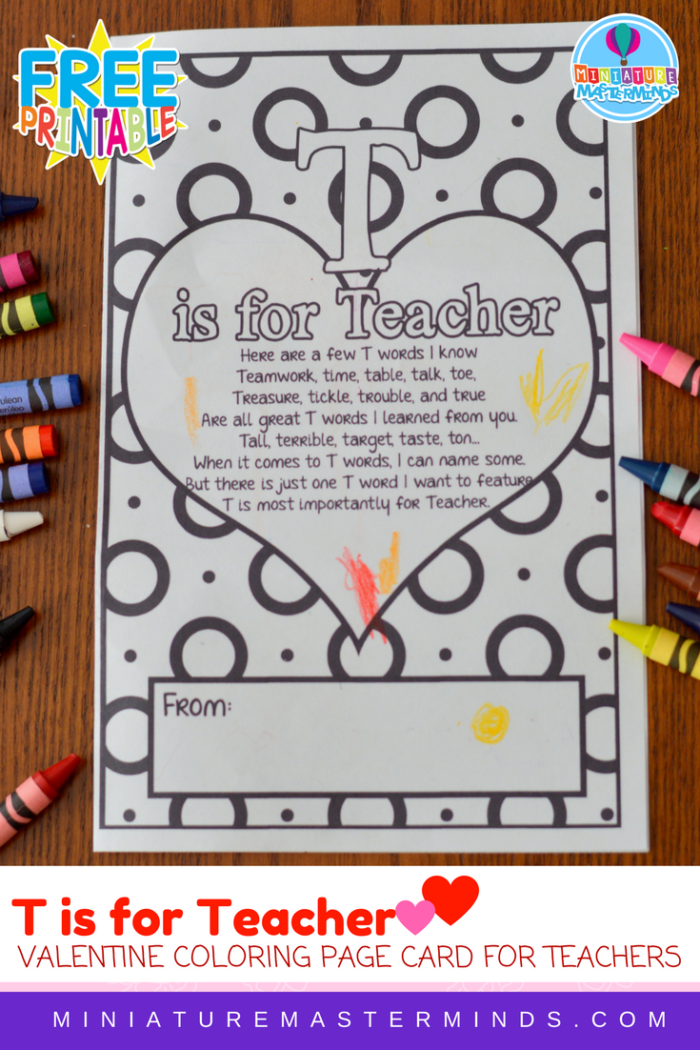 T is For Teacher Coloring Page Valentine or Teacher's Appreciation Card For Teachers