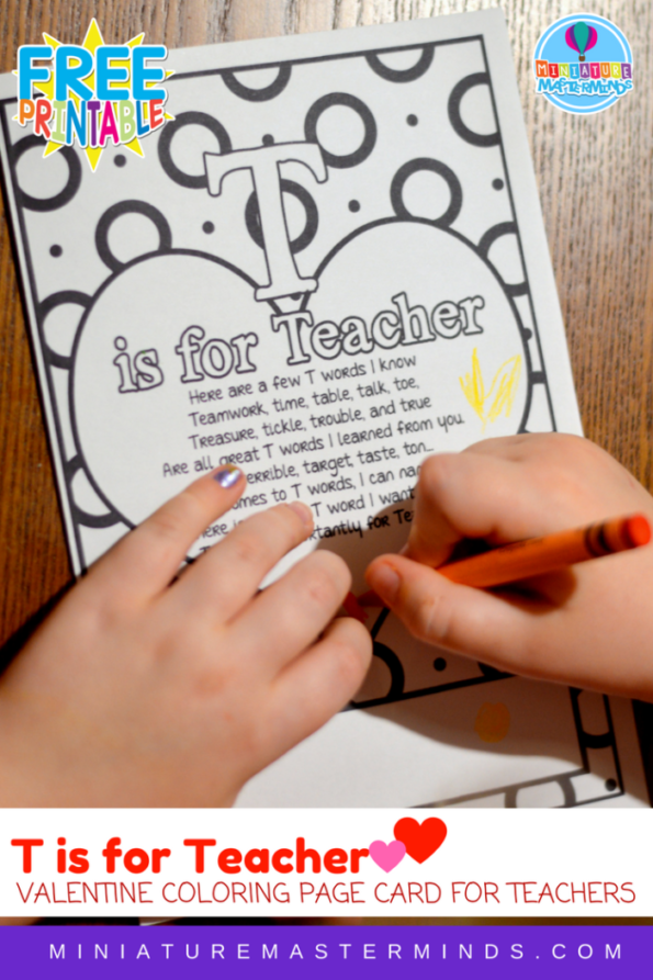 T is For Teacher Coloring Page Card For Teachers