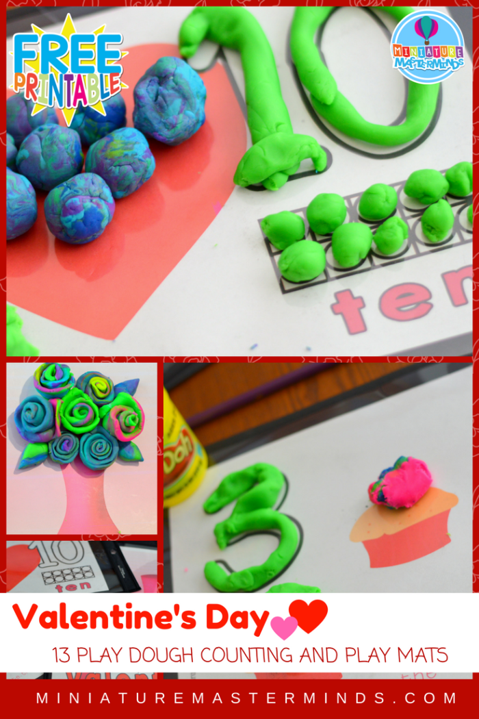 Valentine's Day Play Dough Counting And Play Mats