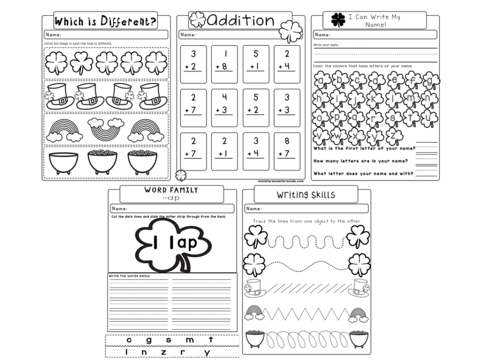 Printable Maths Worksheets For Kids Word St Patricks No Prep Worksheet Pack  Pages Of Kindergarten  Math Worksheets For Grade 1 Word with 7th Grade Printable Worksheets Excel While You Are Here Check Out A Few Of Our Other Printables And Activities  We Have Over  Free Printable Sets Available In Several Different Themes  Just  Special Right Triangles Worksheets Excel