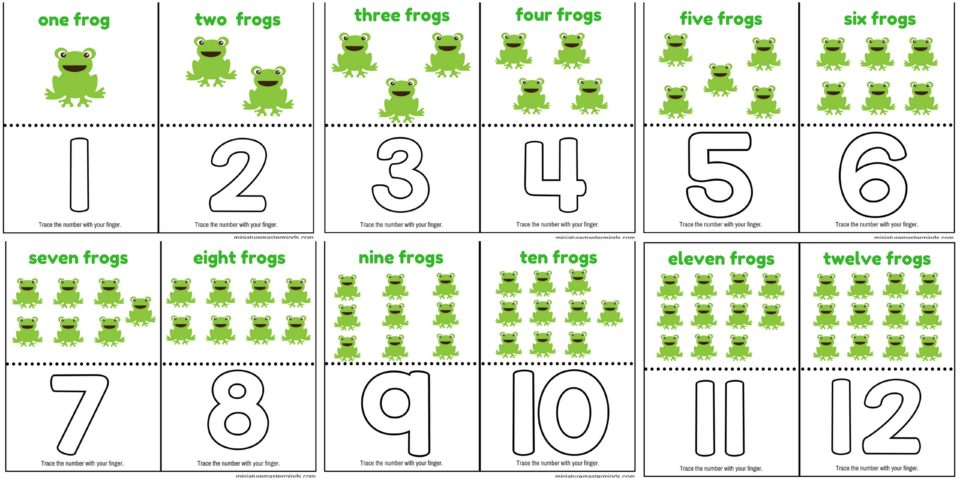 Count And Trace Frogs Number Cards 1 to 12