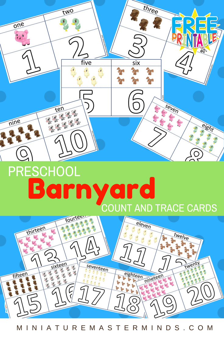 Preschool Barnyard Count And Trace Flash Cards 1-20 – Miniature ...