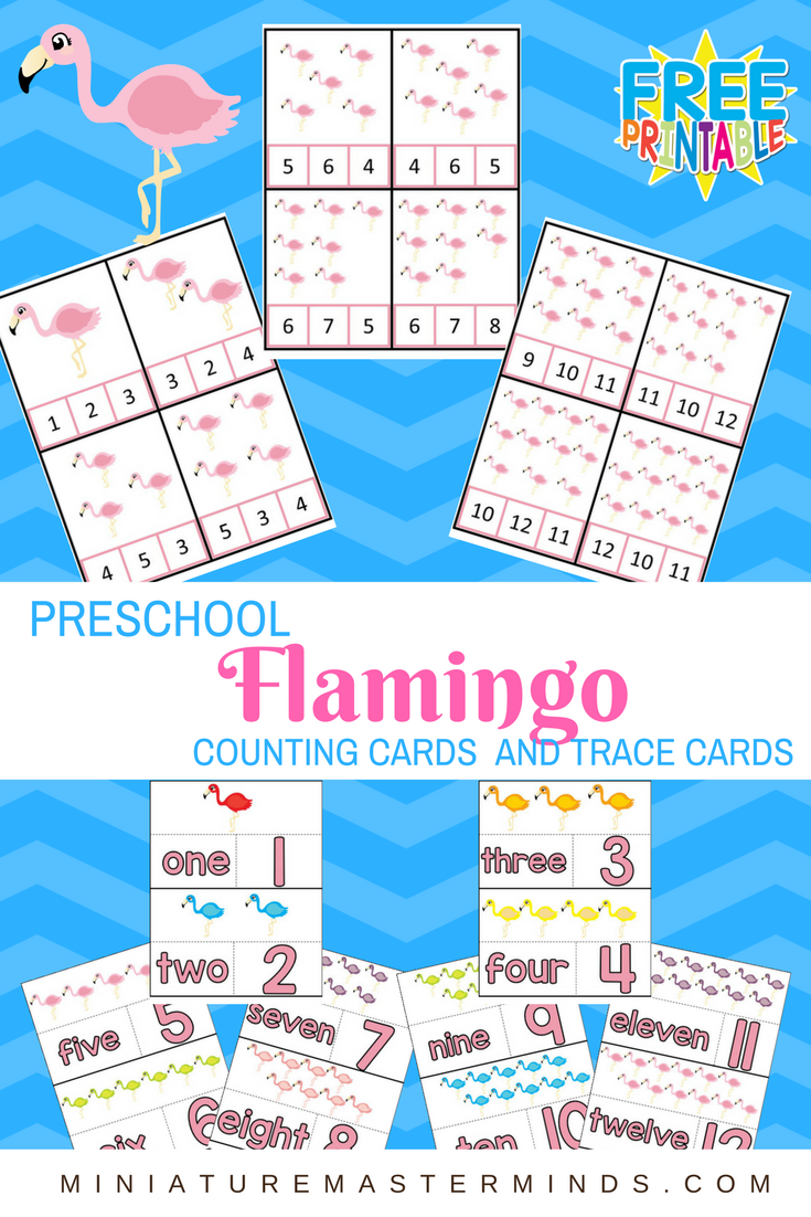 Preschool Flamingo Clip Counting Cards and Counting Puzzles 1-12