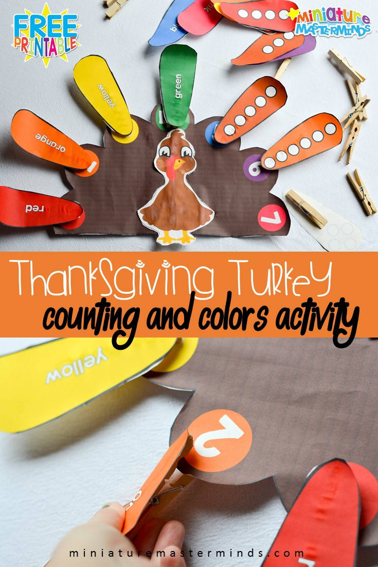 Preschool Turkey Color and Number Clothes Pin Activity