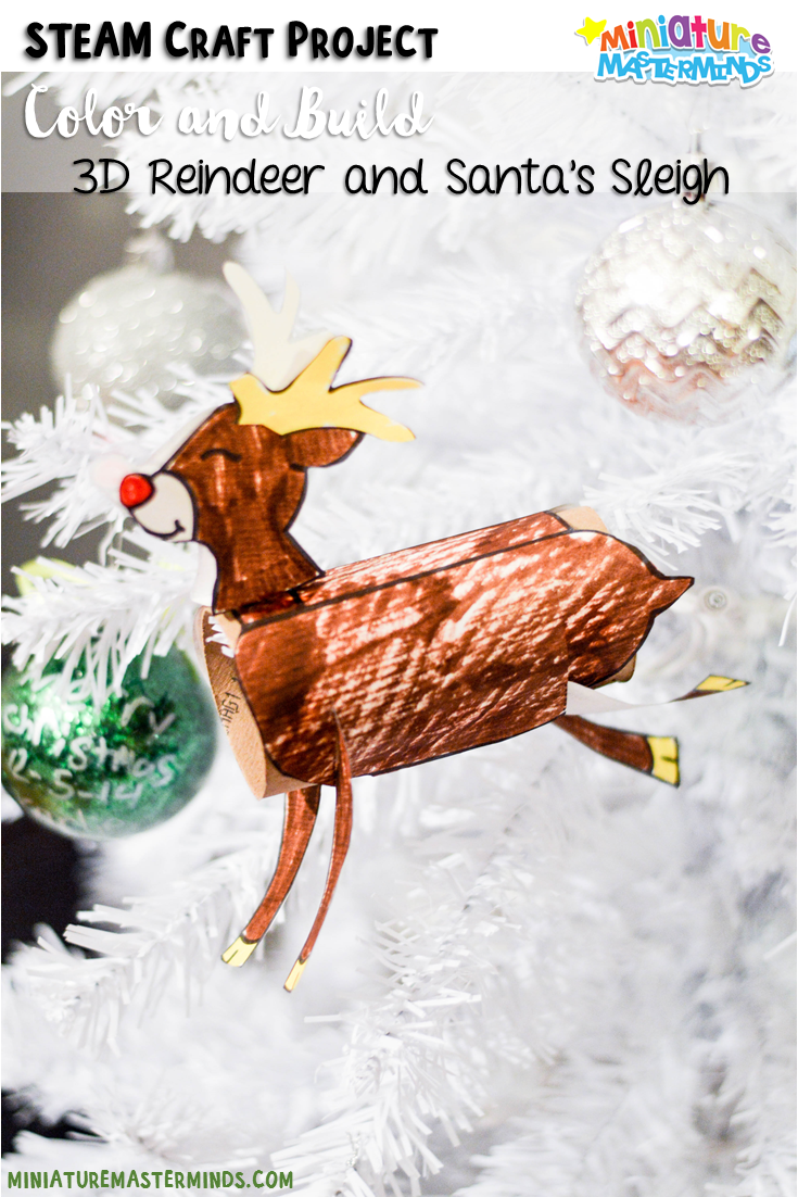 Color and build reindeer and sleigh printable steam craft for Reindeer project