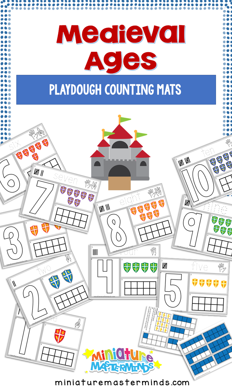 Medieval Playdough Fine Motor Counting Mats 1 to 10