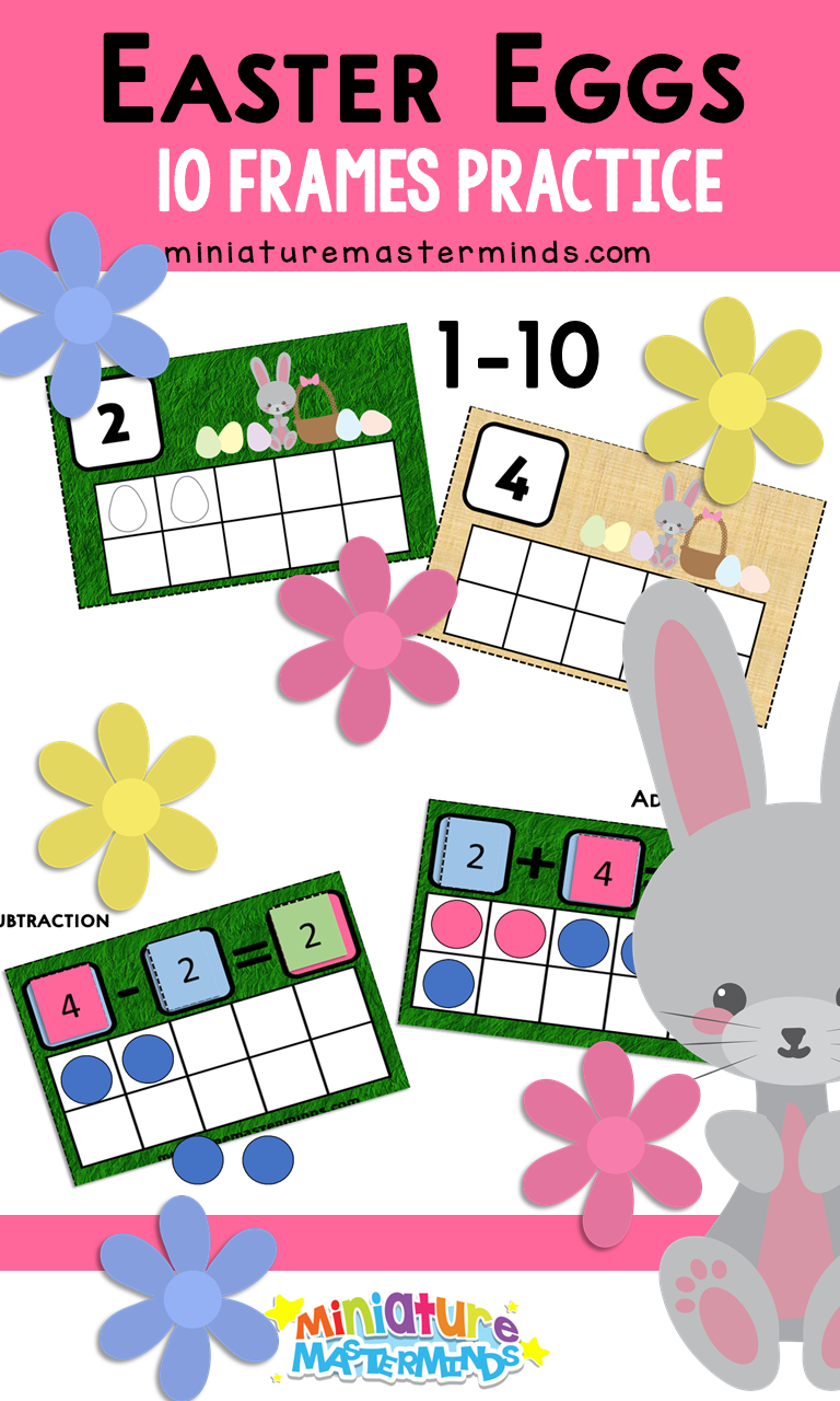 Easter Eggs 10 Frames Counting, Addition, and Subtraction Practice