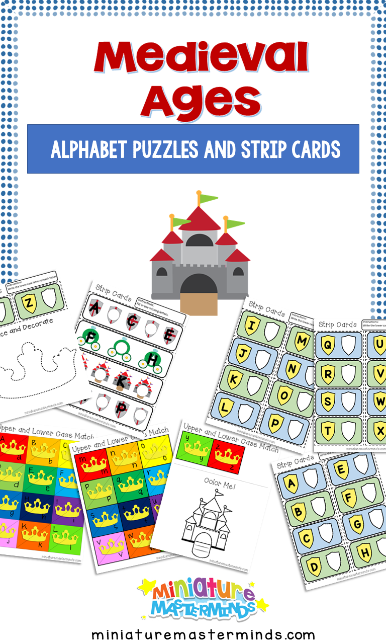 Medieval Preschool Alphabet Puzzles and Strip Cards
