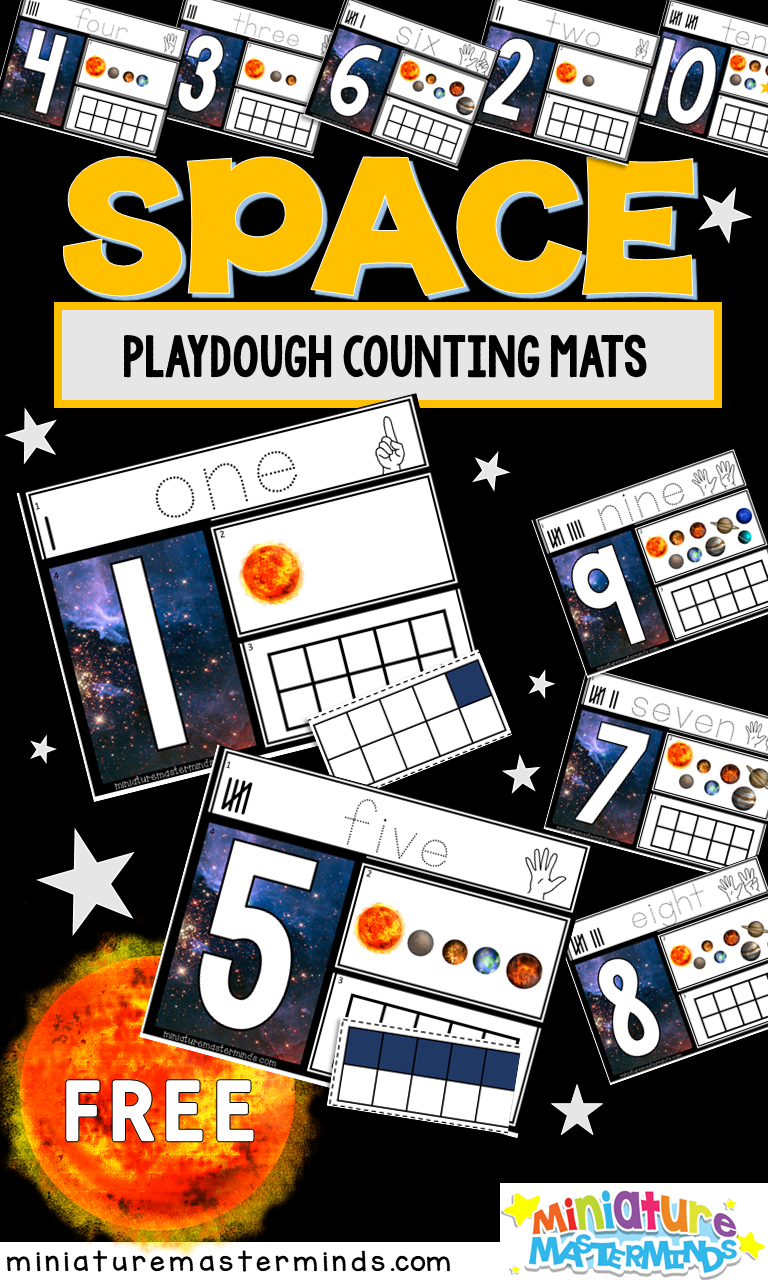 Space Themed Preschool Counting Mats 1 To 10