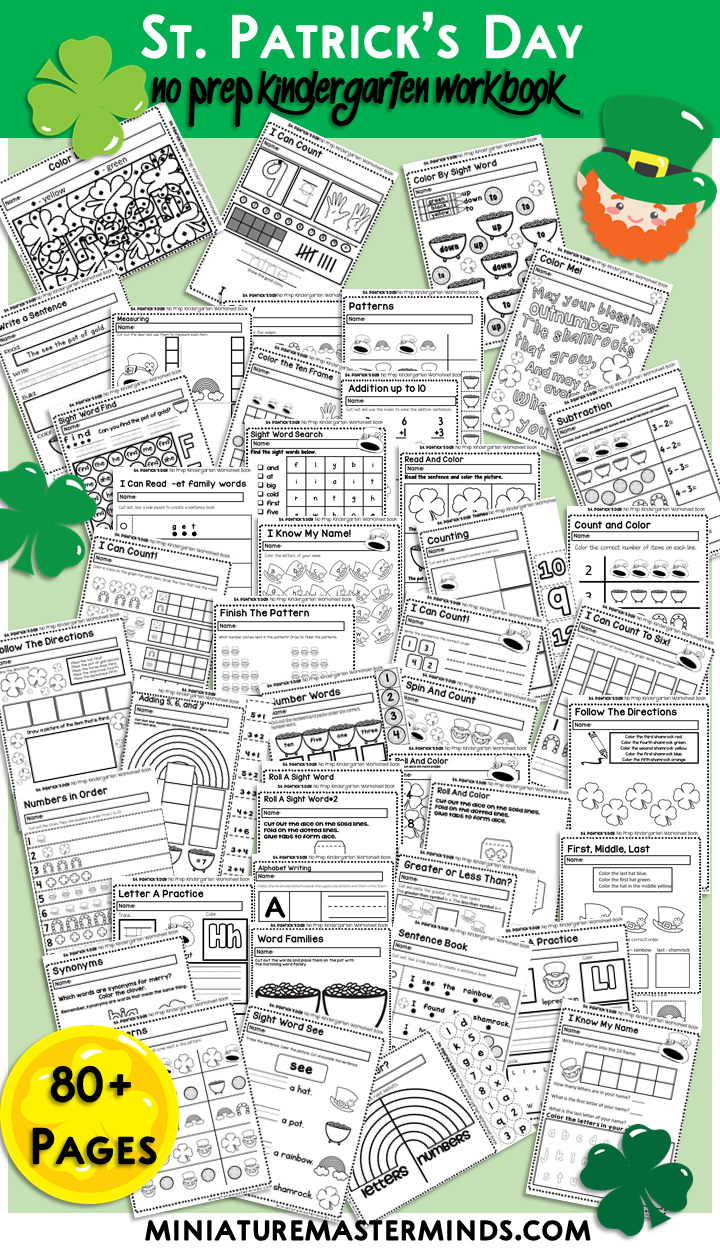 St. Patrick's Day No Prep Kindergarten 80+ Page No Prep Worksheet Book