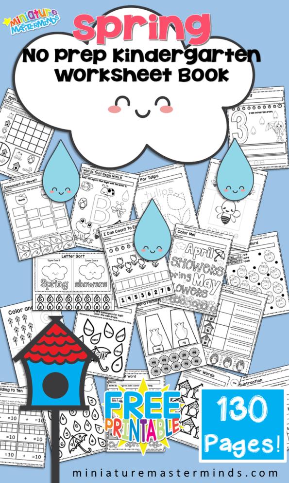 Free Printable Spring No Prep Kindergarten 130+ Page Worksheet Book ...