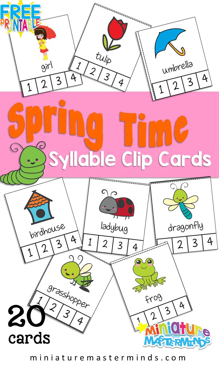 20 Preschool/Kindergarten Spring Time Syllable Counting Clip Cards