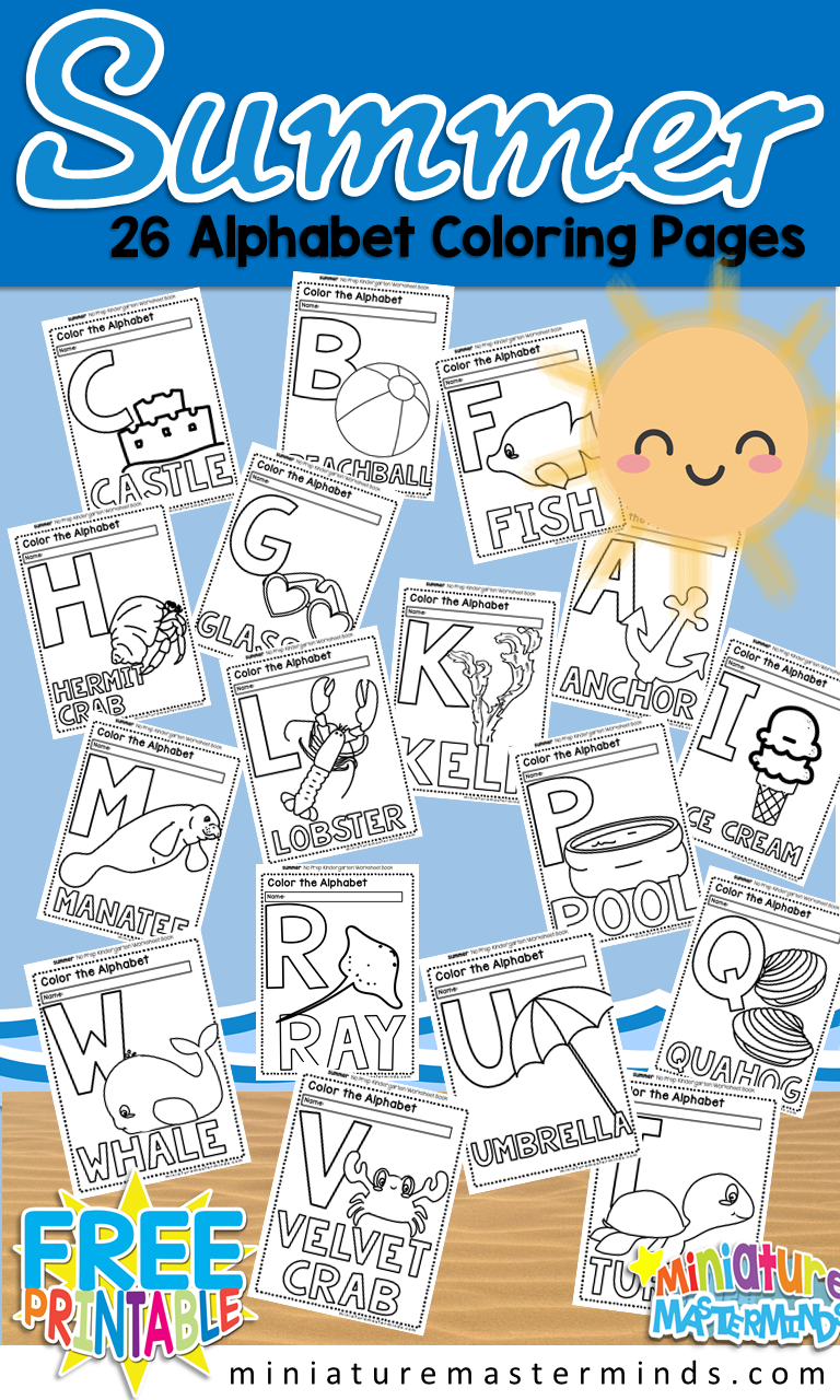 Free Printable Summer 26 Page Alphabet Coloring Book