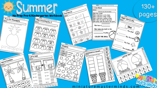 Summer No Prep Preschool and Kindergarten 130 Page Worksheet Book ...