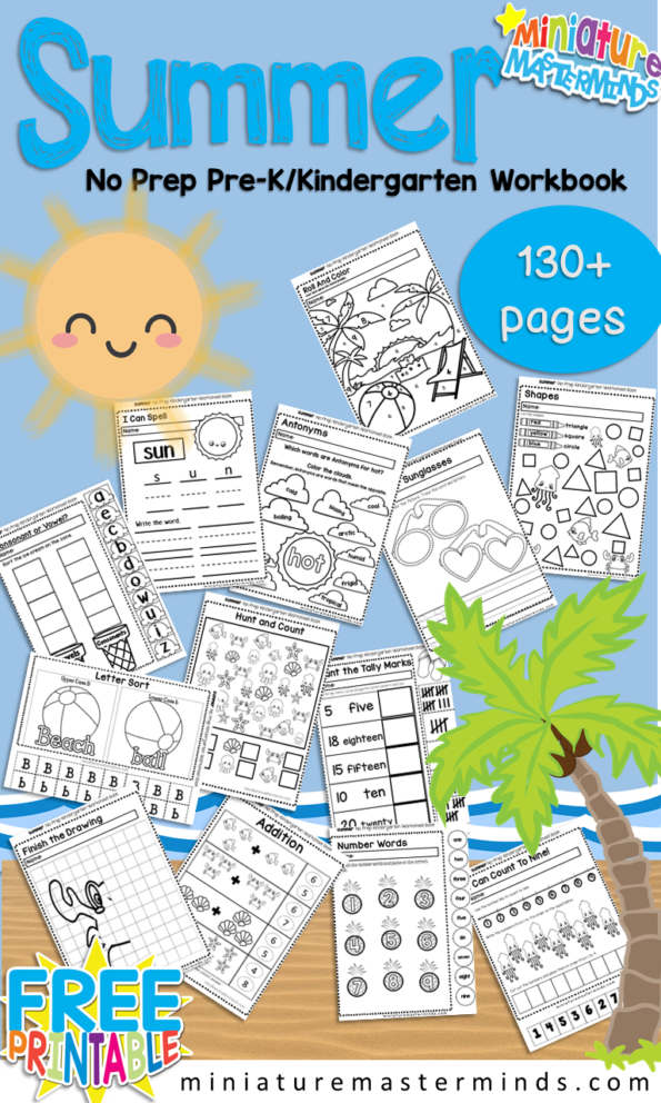 Summer No Prep Preschool and Kindergarten 130 Page Worksheet Book ...