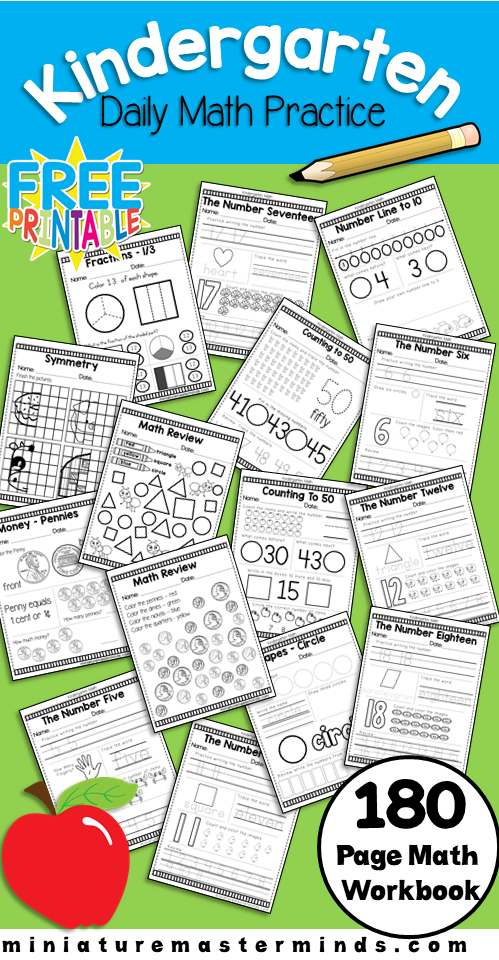 Kindergarten Daily Math Practice Worksheets 180 Page Work Book