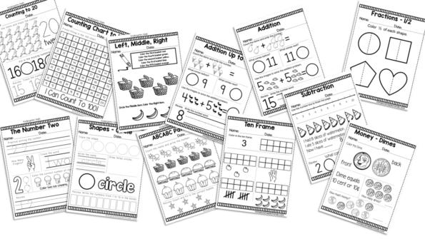 Kindergarten Daily Math Practice Worksheets – 180 Page Work Book –  Miniature Masterminds