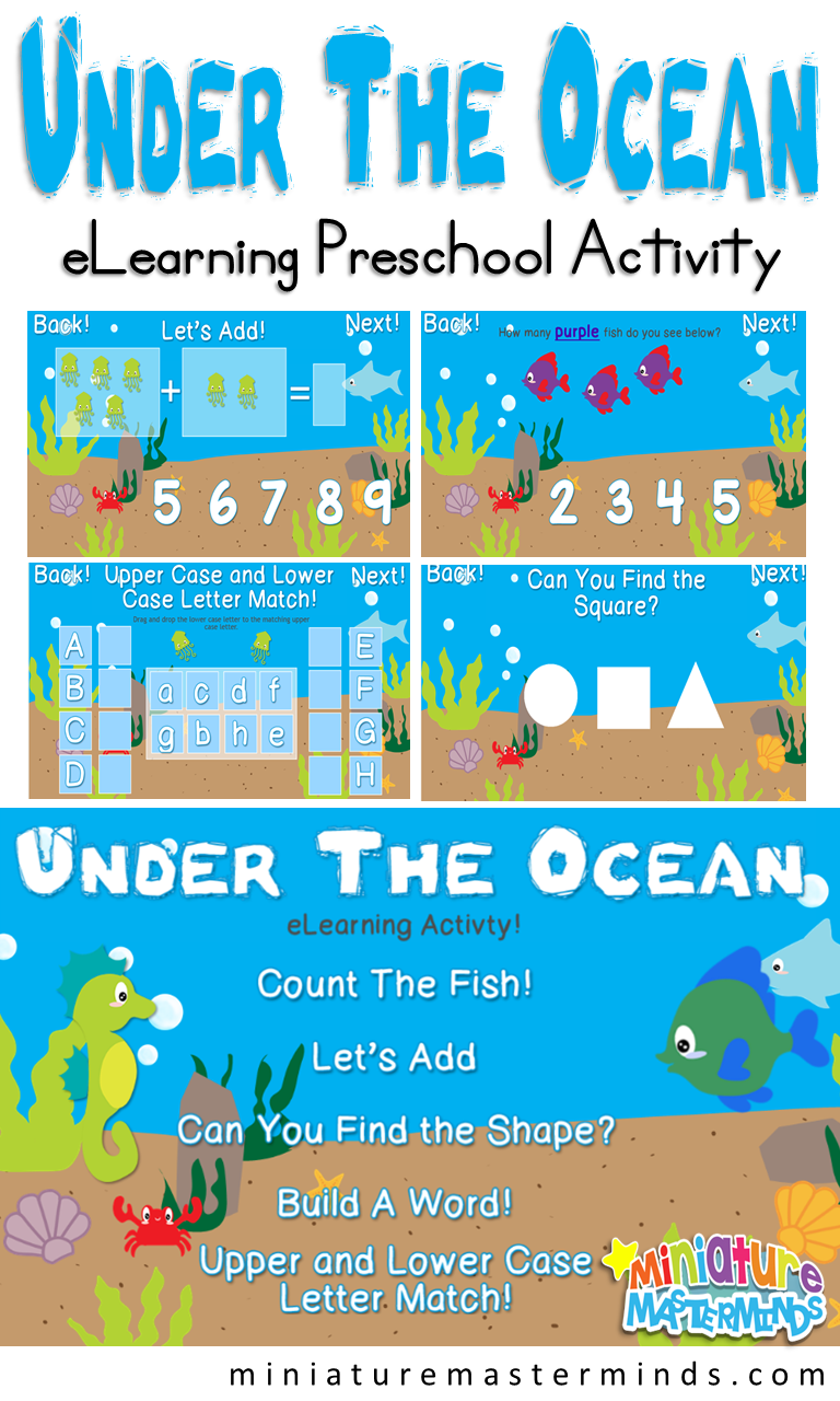 Under The Ocean Preschool eLearning Activity – Miniature Masterminds