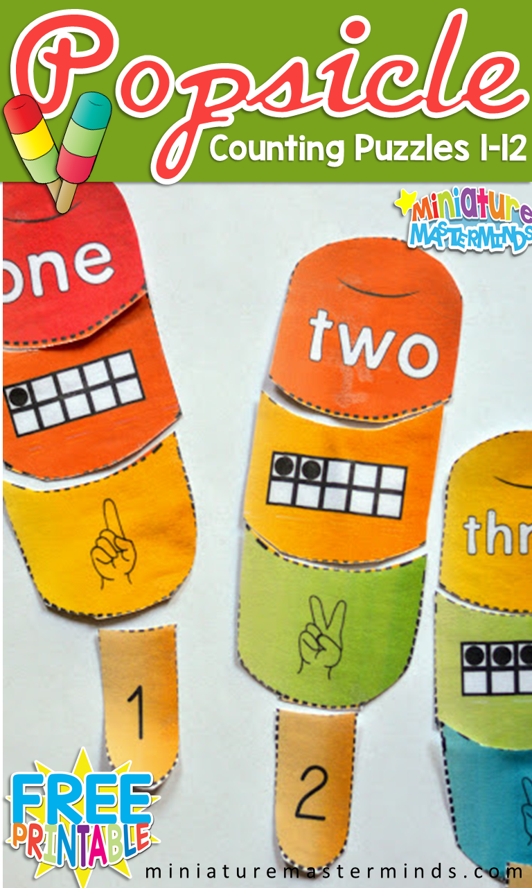 Preschool Popsicle Counting Puzzles