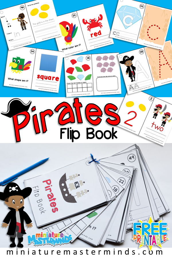 Pirates Themed Flip Book Numbers, Letters, Shapes, Colors, Sight Words