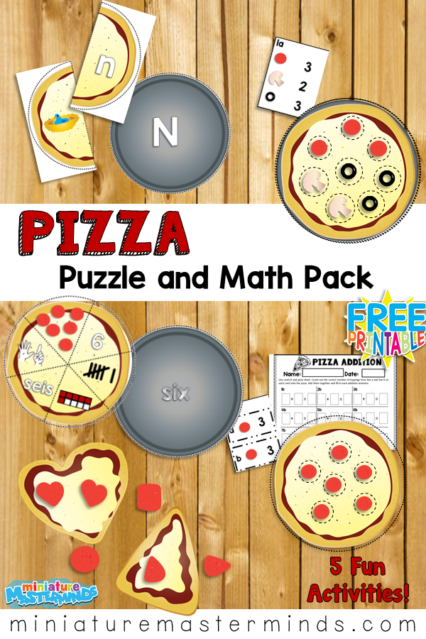 Pizza Puzzles and Math Pack Alphabet, Counting, Addition, Shapes