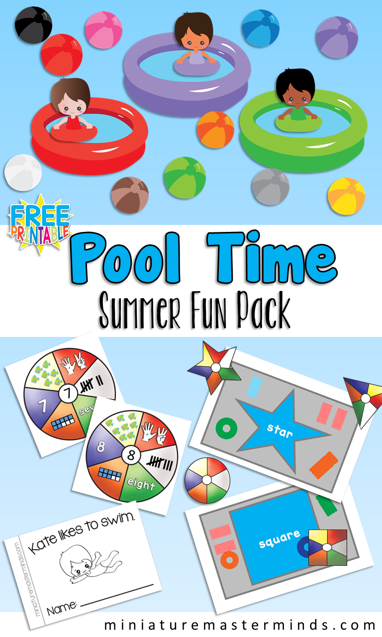 Pool Themed Summer Fun Pack – Color in English and Spanish, Numbers ...
