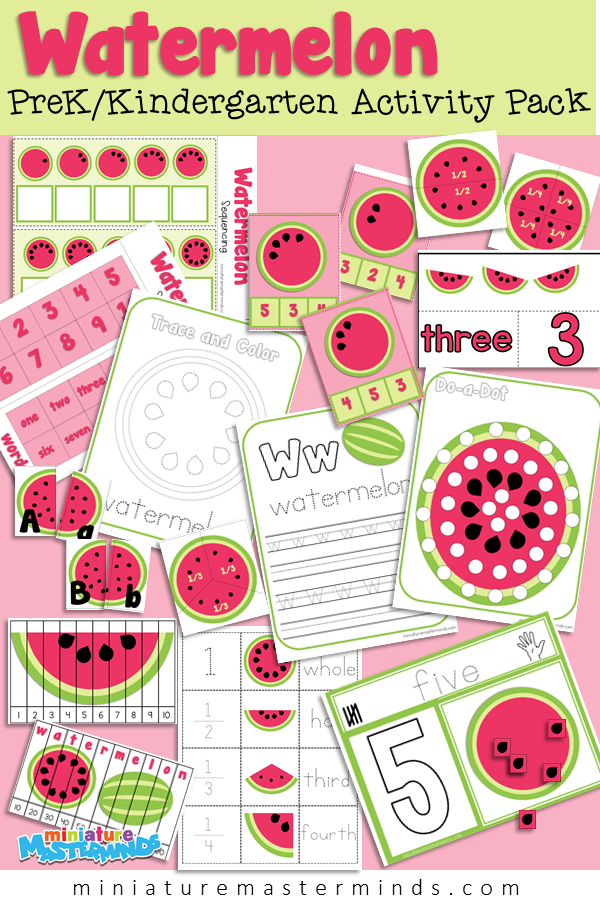 Summer Watermelon Themed Preschool Activity Pack