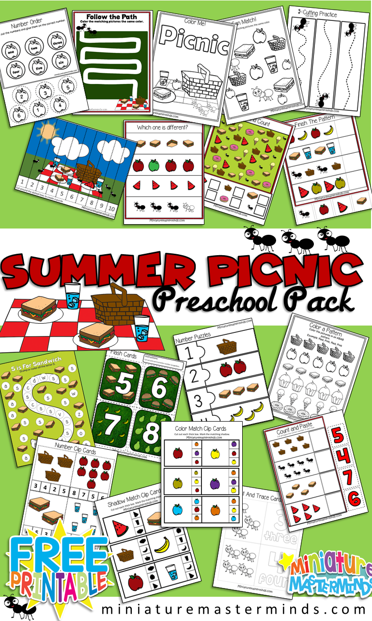 Summer Picnic Preschool Workbook and Activity Pack – Miniature ...