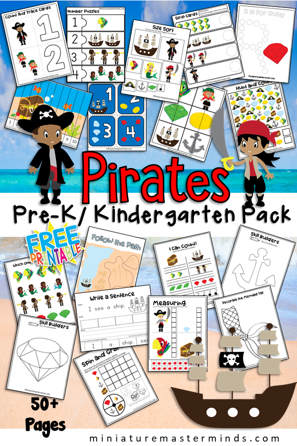 Pirate Themed Preschool and Kindergarten Educational Worksheet and Activity Pack