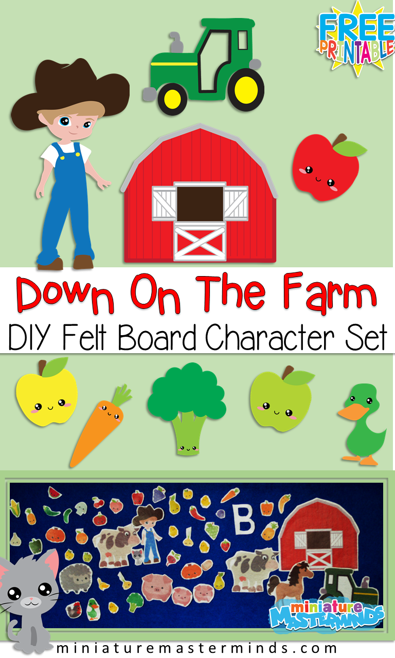 DIY Down On The Farm Felt Board Character Set For Stories and Play