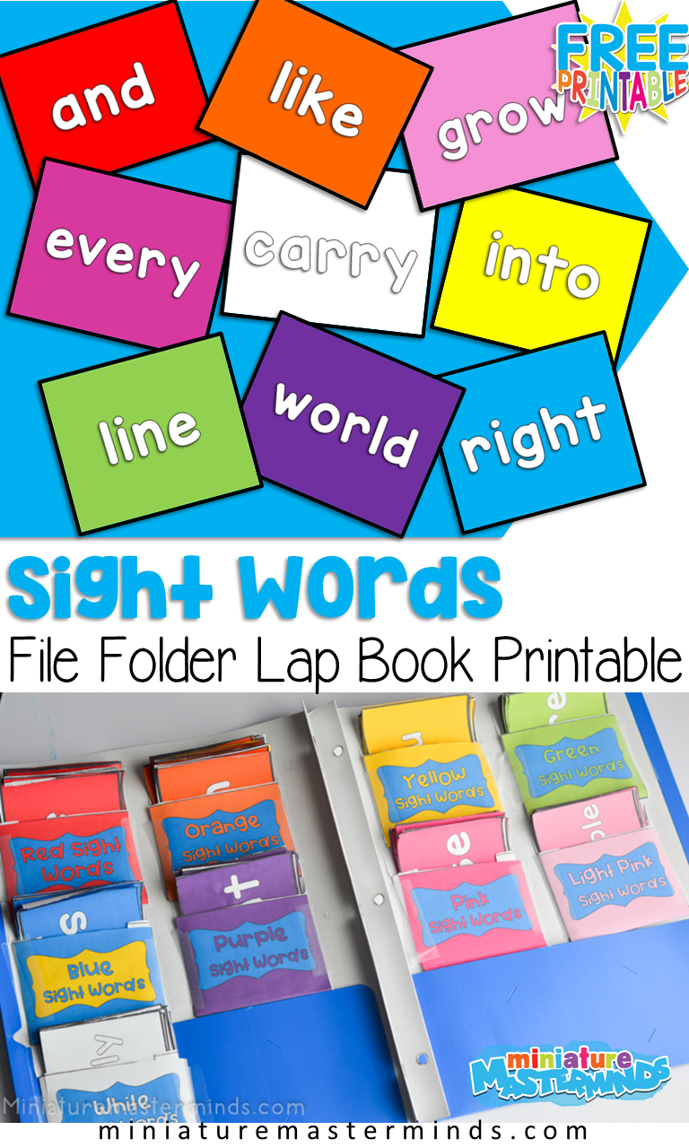 Rainbow Sight Words File Folder Flash Cards For Kindergarten Free Printable