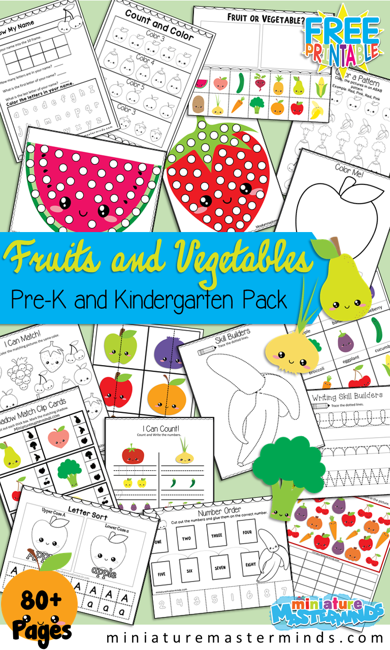 Fruits and Vegetables Preschool and Kindergarten Printable Activity Pack