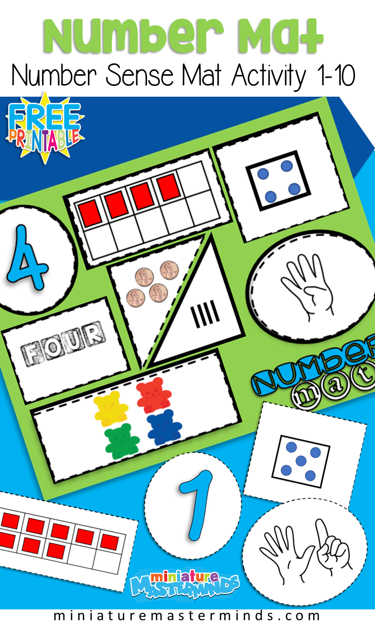 Free Printable Number Sense Number Mats From 1 to 10 Preschool and ...