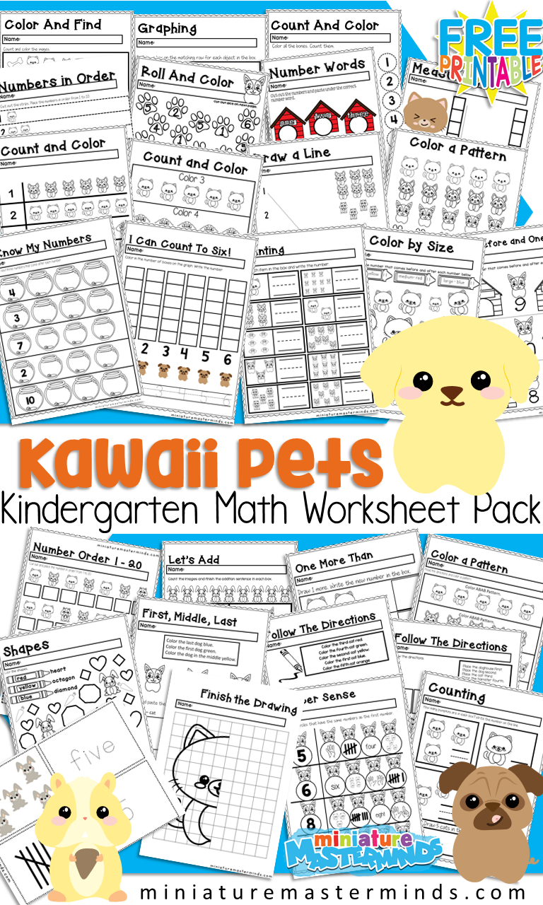 Kawaii Pets Kindergarten Math Worksheet and Activity Pack