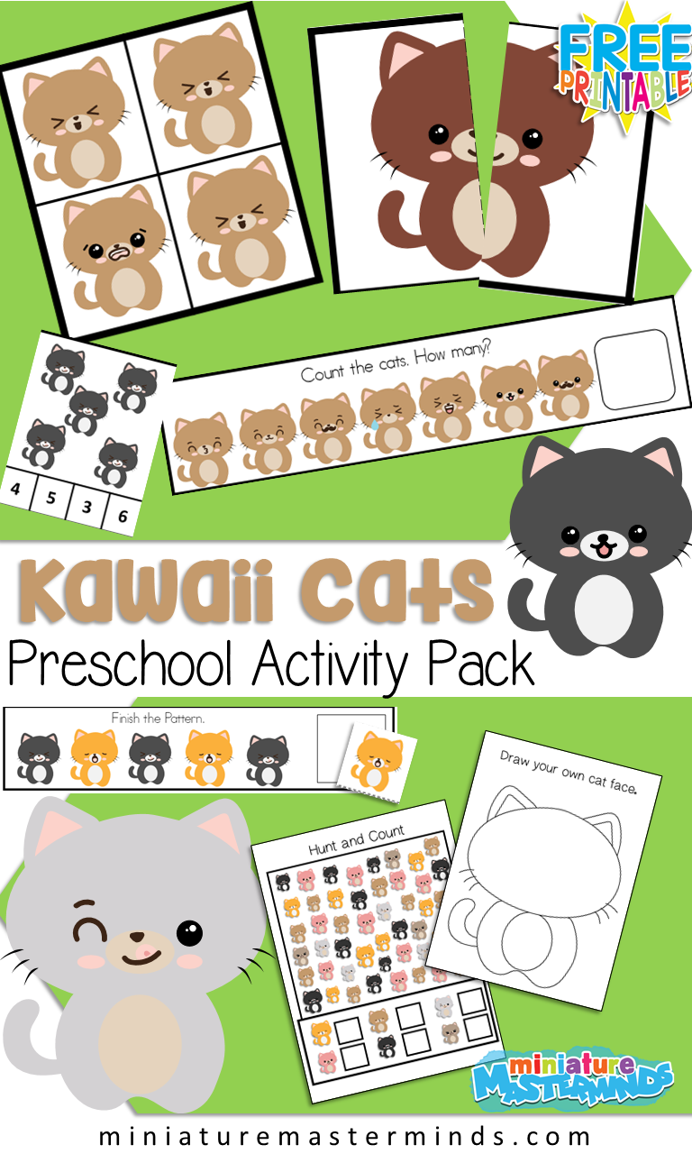 Kawaii Cats Preschool Activity Pack Free Printable