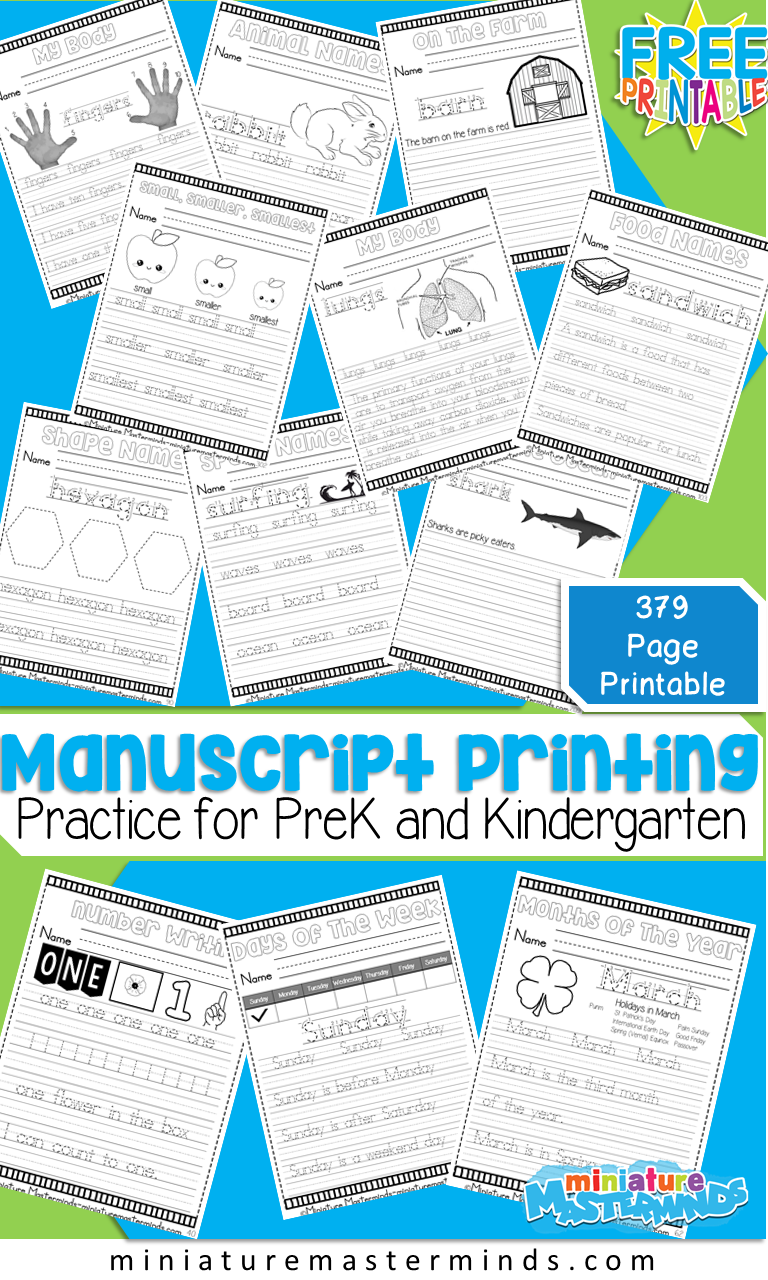 Giant 379 Page No Prep Printable Book For Manuscript Print Practice ...