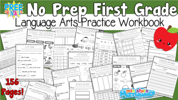 First Grade Language Arts Practice No Prep Worksheet Workbook 150+ ...