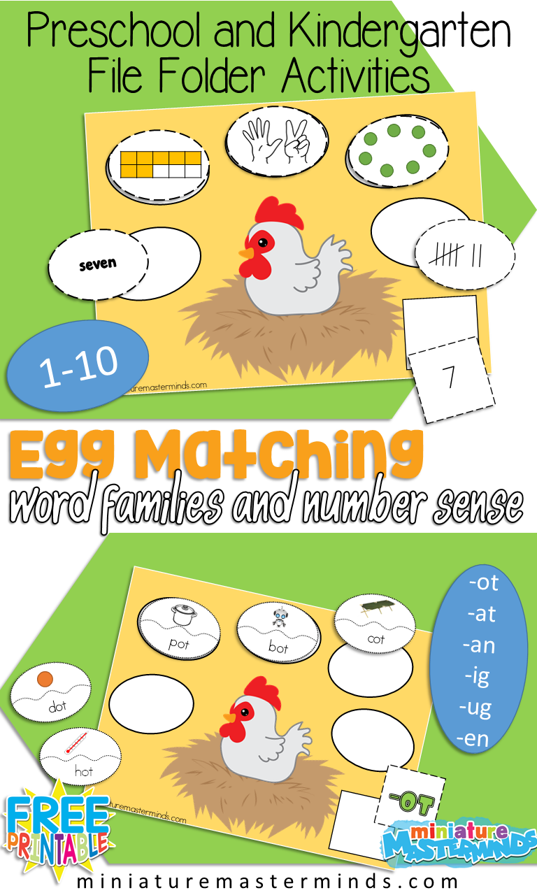 On The Farm Egg Match Word Families and Number Sense File Folder ...