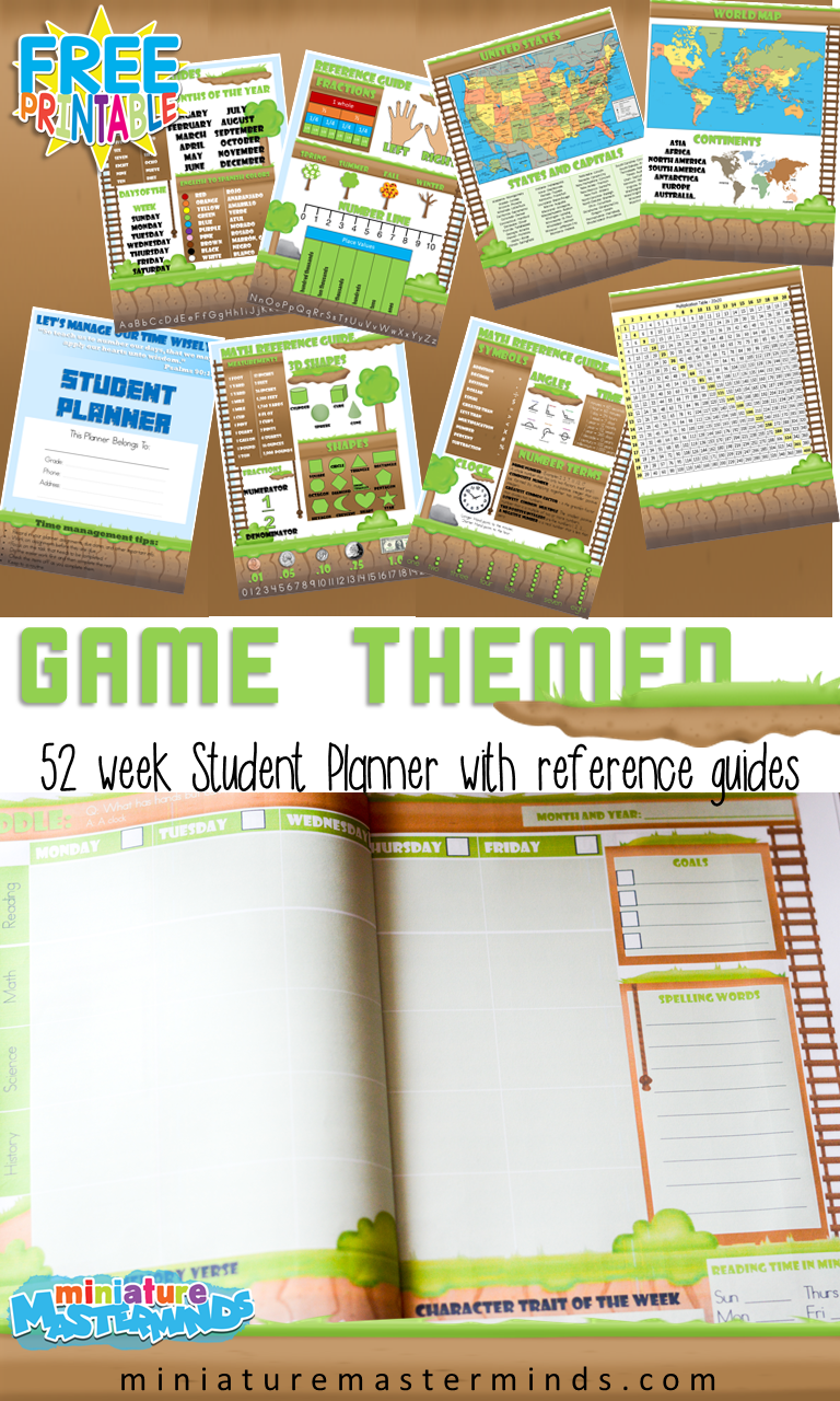Free Printable Game Themed 52 Week Student Planner With Reference Guides