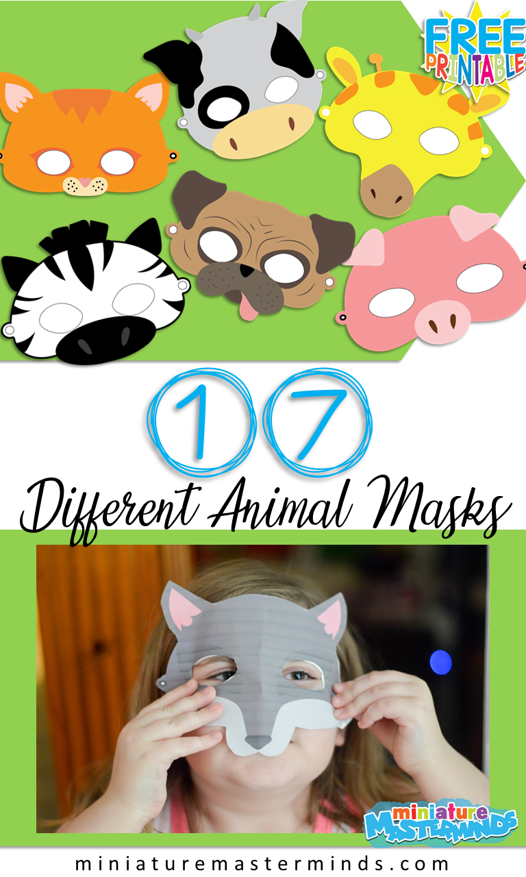 17 Different Printable Animal Masks For Dramatic Play