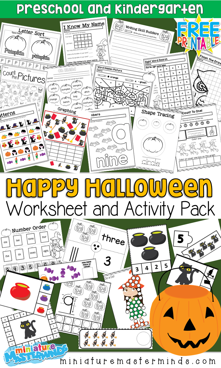 Free Printable 100+ Page Preschool and Kindergarten Halloween Worksheet and Activity Pack